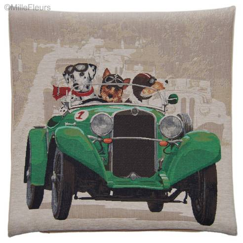 Dalmatian,Yorkshire Terrier and Jack Russell in Green Race Car