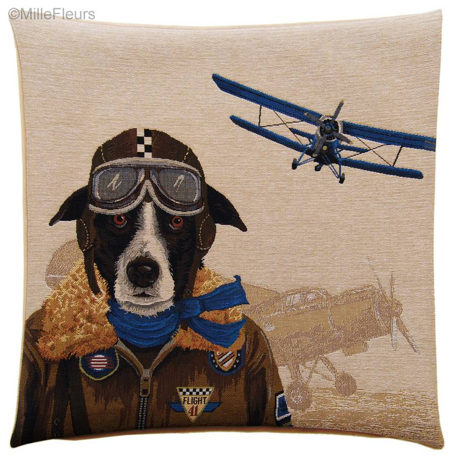 Border Collie Bomber Pilot Tapestry cushions Dogs - Mille Fleurs Tapestries