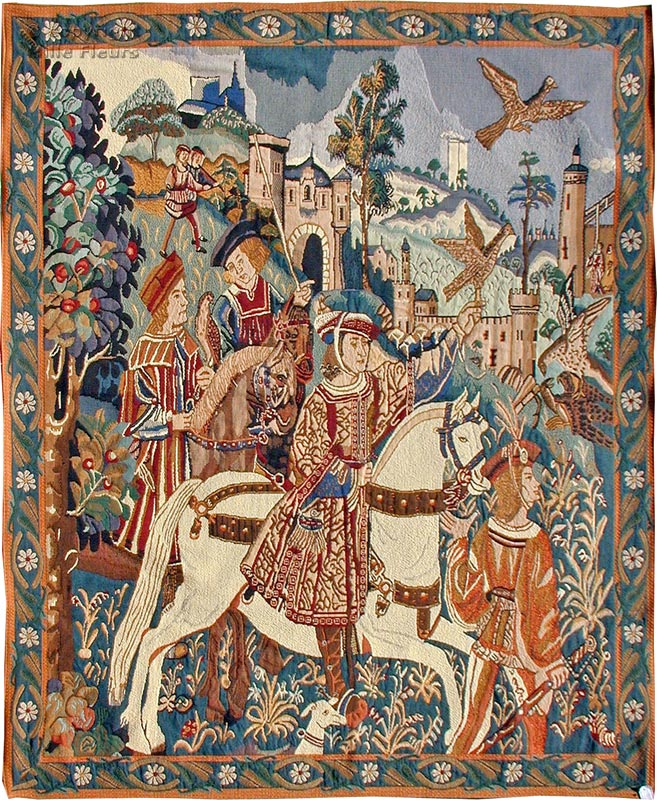 Falcon Hunt Wall tapestries Other Medieval - Mille Fleurs Tapestries