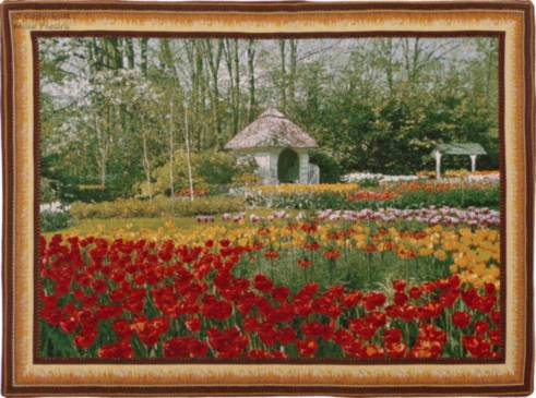 Tulips and Garden house