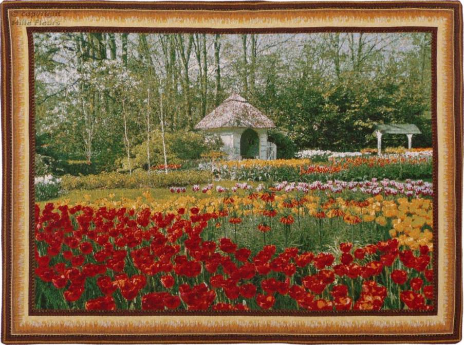 Tulips and Garden house Wall tapestries Keukenhof - Mille Fleurs Tapestries