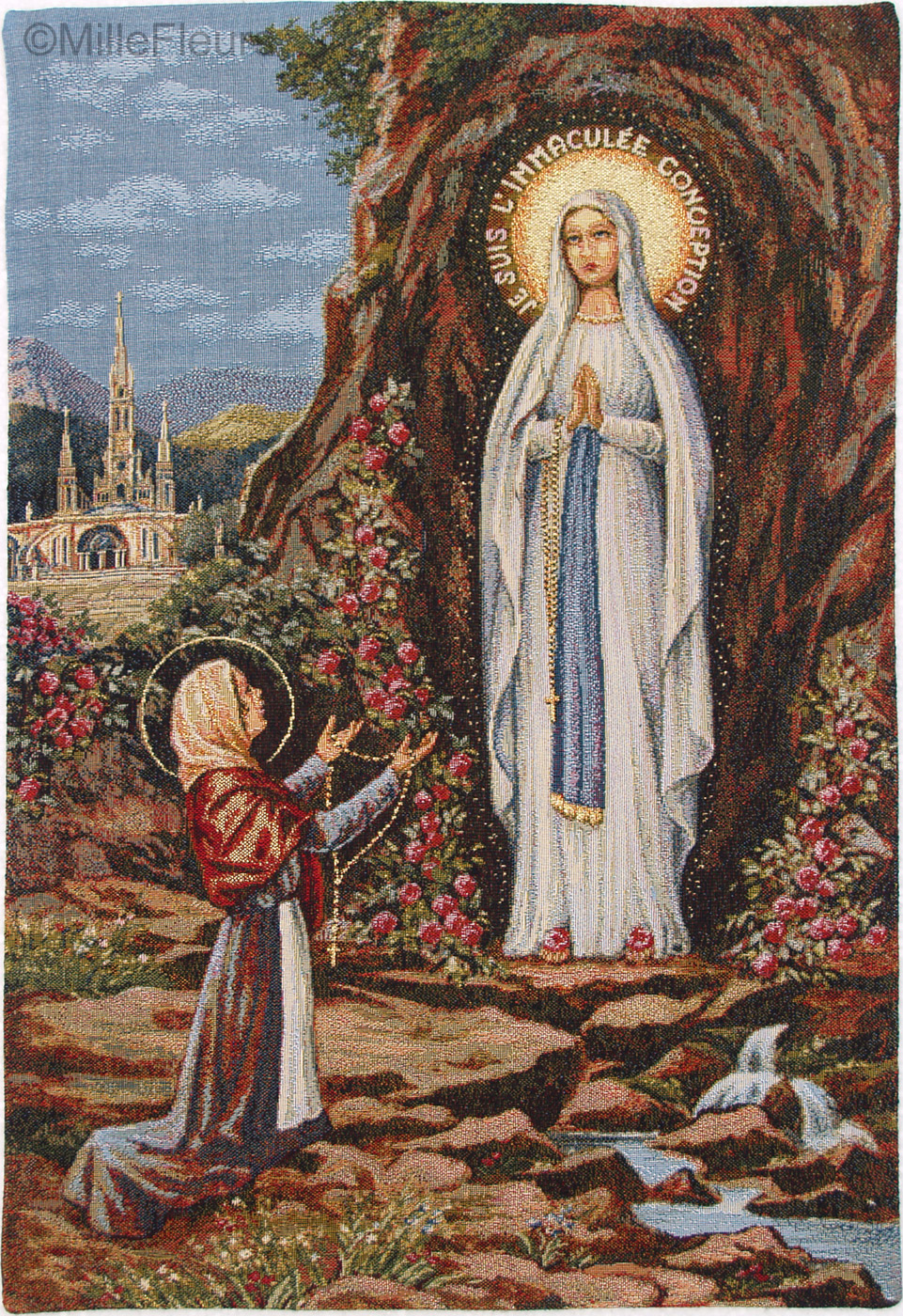 Our Lady Of Lourdes Religious Wall Tapestries Mille