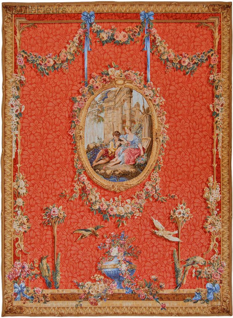 Serenade, rouge Wall tapestries Romantic and Pastoral - Mille Fleurs Tapestries