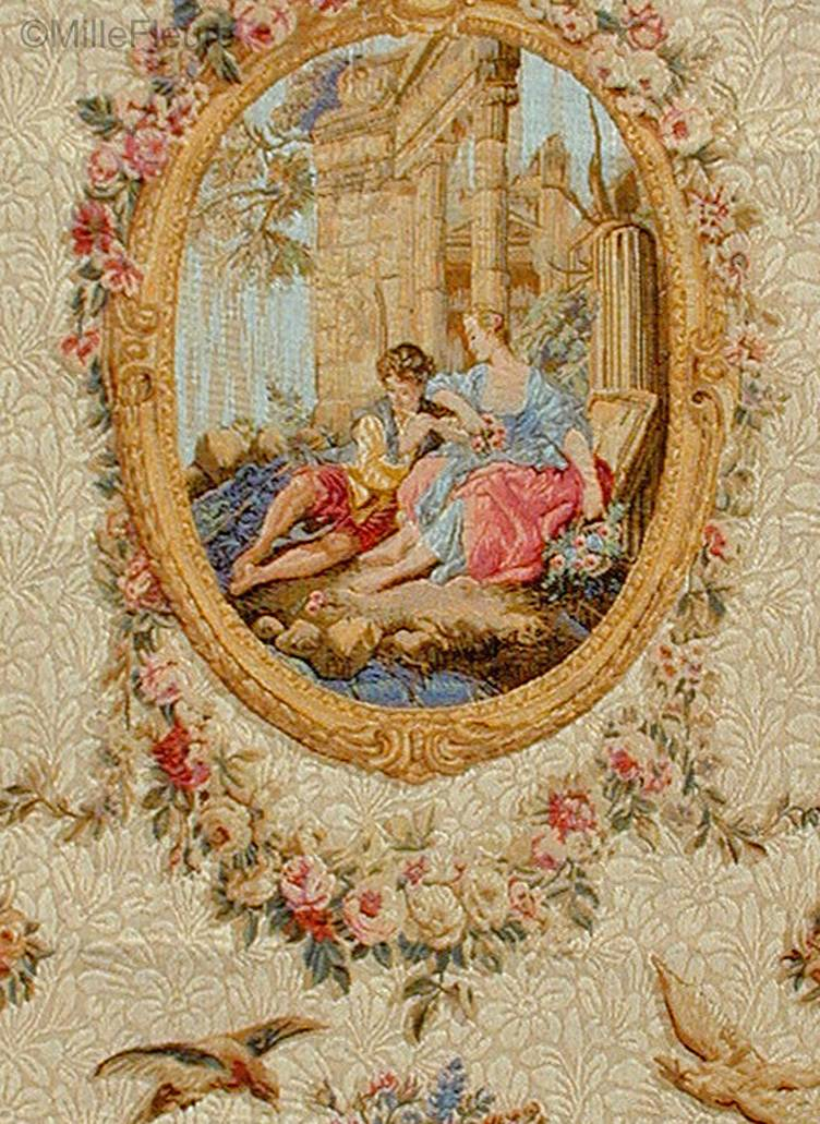 Serenade, beige Wall tapestries Romantic and Pastoral - Mille Fleurs Tapestries