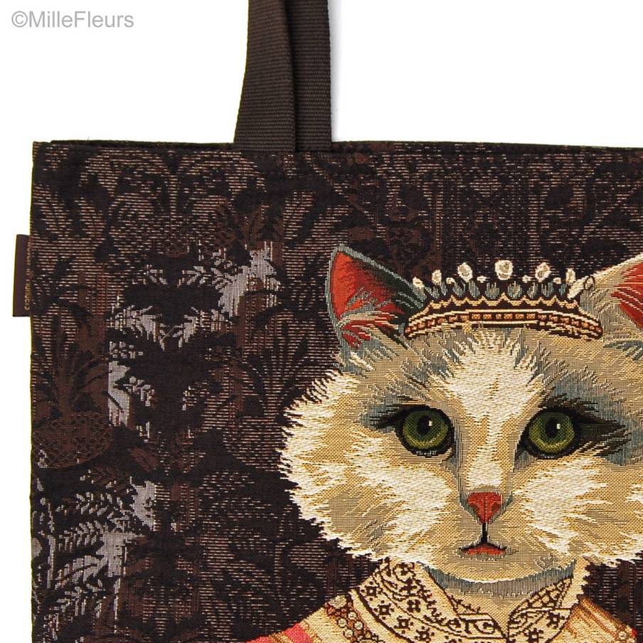 Cat with Crown Tote Bags Cats - Mille Fleurs Tapestries