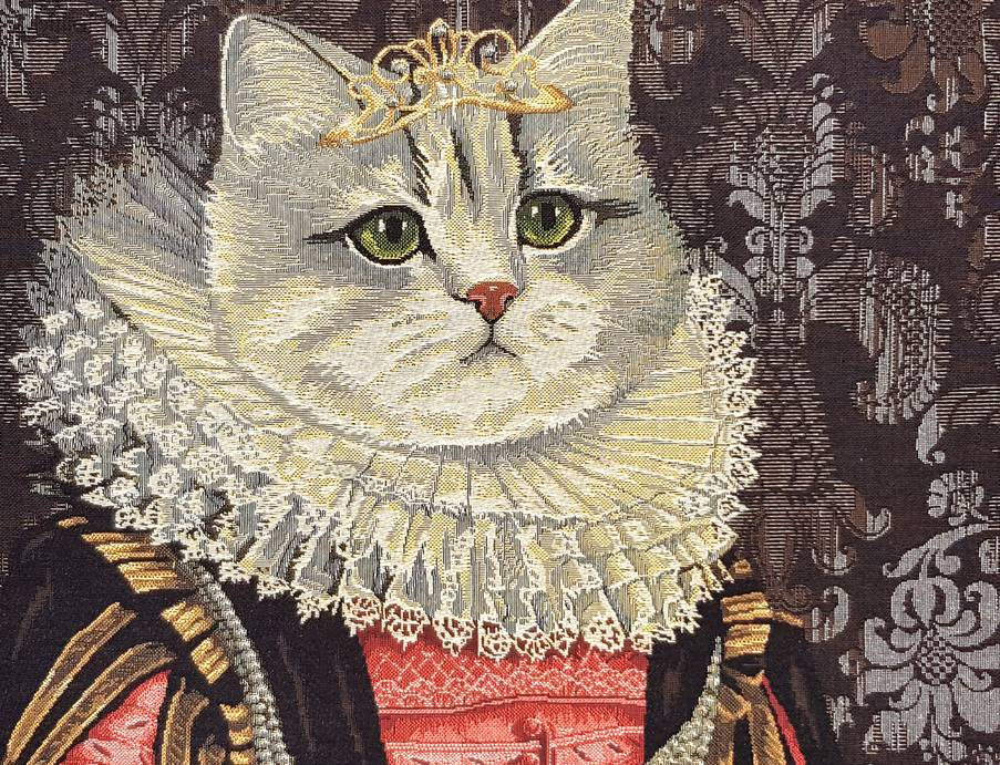 Cat with Crown Tapestry cushions Cats - Mille Fleurs Tapestries